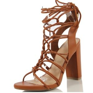 Shoes - Tan Open Toe Gladiator Cage Ankle Tie Sandal